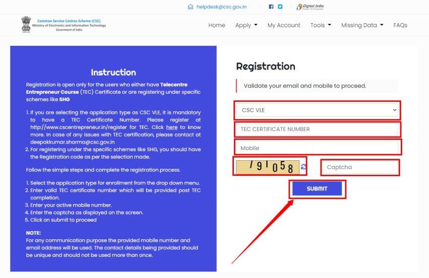 CSC VLE Registration