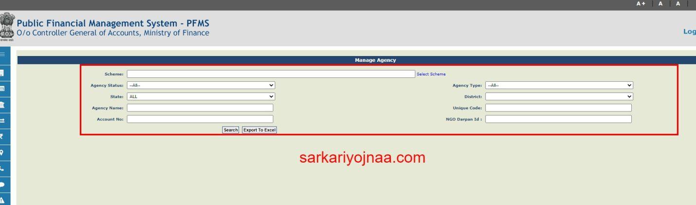 Manage Registered Agency PFMS