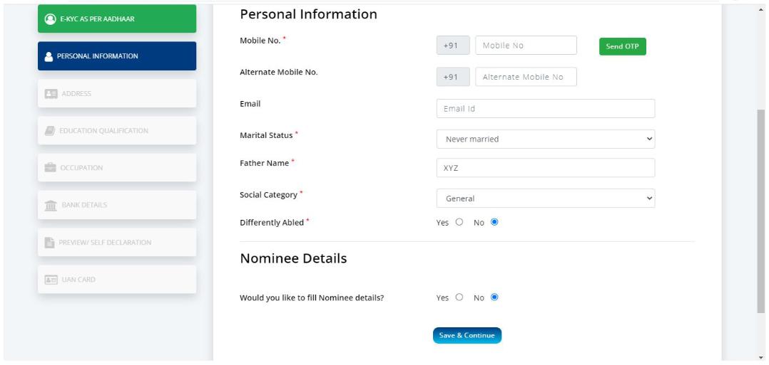 NDUW Card Self registration Form